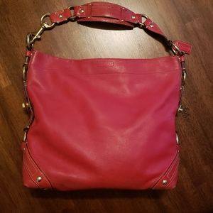 Authentic Coach Carly Red Leather Hobo Bag